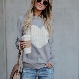 ❤️ Soft Grey Knit Long Sleeve Heart Sweater ❤️